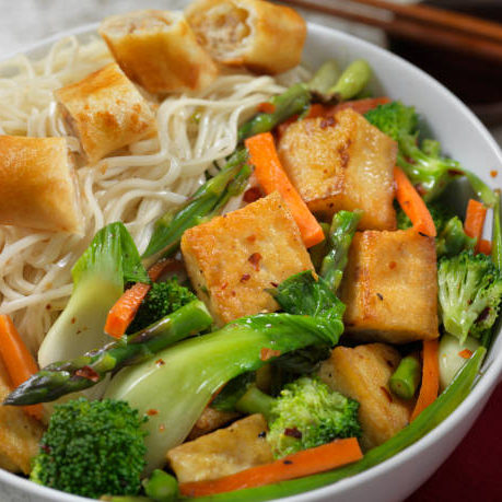Tofu Noodle Bowl with Vegetable Spring Roll